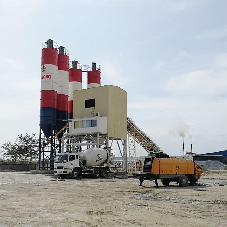 25CBM/Hr HZS25 Concrete Mixing Plant Unloading 3.8m